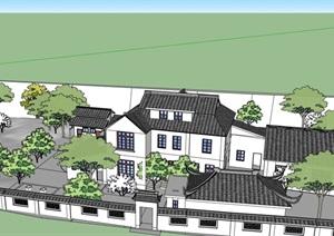 中式私人别墅详细建筑设计SU(草图大师)模型