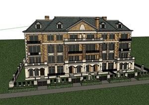 英式风格多层别墅详细建筑设计SU(草图大师)模型