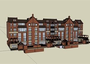 英式整体详细的别墅详细建筑设计SU(草图大师)模型