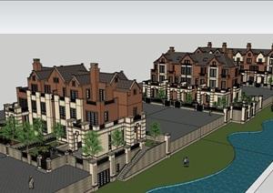 英式风格联排别墅详细建筑设计SU(草图大师)模型