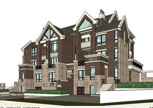 欧式多层完整的别墅详细建筑设计SU(草图大师)模型
