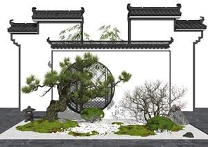 新中式庭院景观 景观小品 景观树 树 枯枝 草坪SU(草图大师)模型