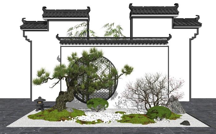 新中式庭院景觀 景觀小品 景觀樹 樹 枯枝 草坪su模型(3)