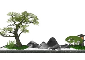 新中式庭院景观小品 景观树 假山石头SU(草图大师)模型