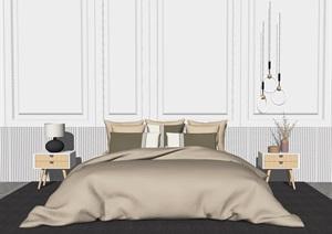 现代卧室 双人床 床床头柜SU(草图大师)模型