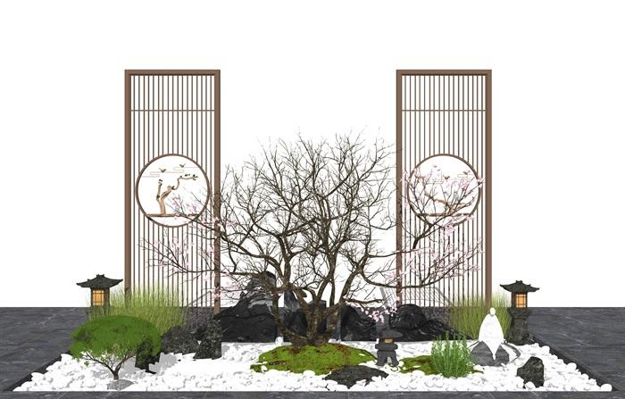 新中式庭院景觀 景觀小品 枯枝 隔斷 假山石頭 植物su模型(1)