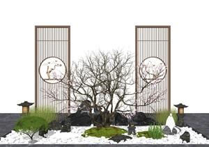 新中式庭院景观 景观小品 枯枝 隔断 假山石头 植物SU(草图大师)模型