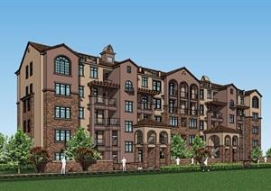 完整的欧式多层洋房住宅详细建筑SU(草图大师)模型