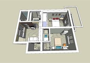 精美的欧式风格两室住宅室内设计