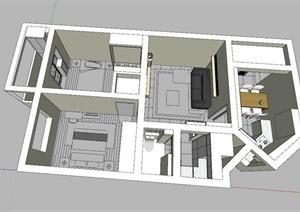 现代简约风两室住宅室内设计