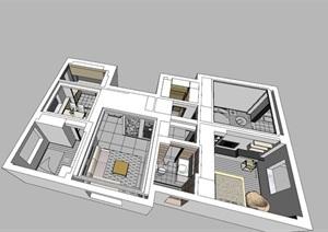 现代简约住宅室内设计模型