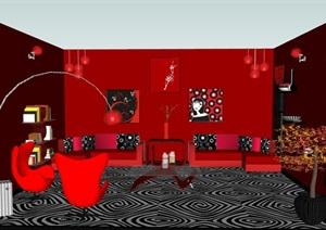 红色店铺接待室室内设计