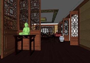 中式古典家居室内空间设计SU(草图大师)模型