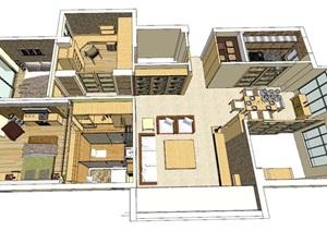 日式风格居家室内设计SU(草图大师)模型