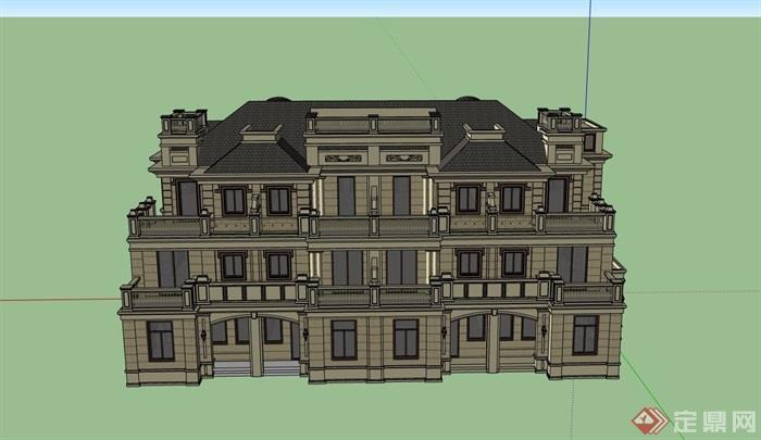 多層完整的獨特完整的別墅設計su模型