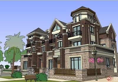 住宅小區獨特完整的別墅設計su模型