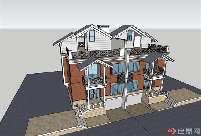 雙拼完整的獨特完整的別墅設計su模型