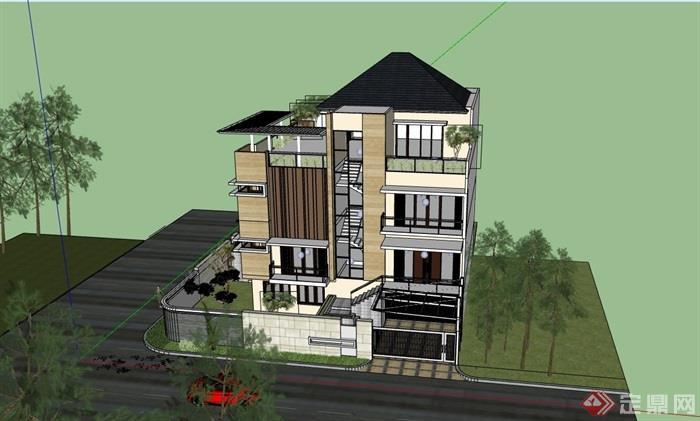 經典的歐式獨特完整的別墅設計su模型