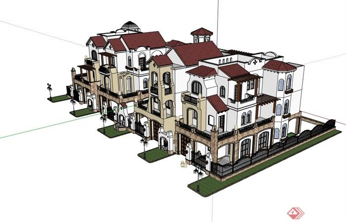聯排歐式獨特完整的別墅設計su模型