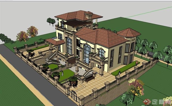 詳細經典的獨特完整的別墅設計su模型