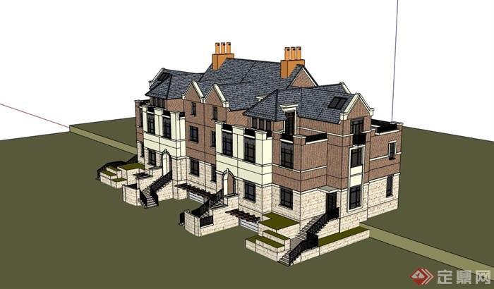 小區完整的獨特完整的別墅設計su模型