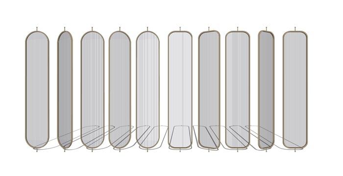 現代隔斷 屏風組合su模型(2)