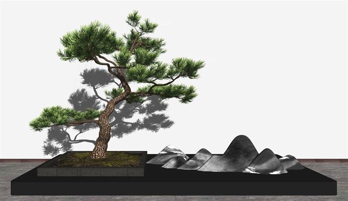 新中式庭院造景假山 景觀樹su模型(1)