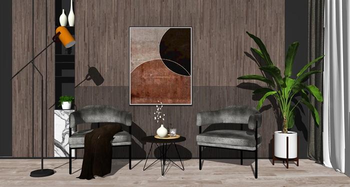 现代单人沙发 边几组合 落地灯 墙饰 植物su模型(1)