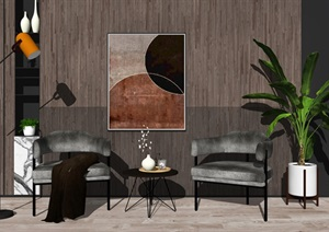 现代单人沙发 边几组合 落地灯 墙饰 植物SU(草图大师)模型