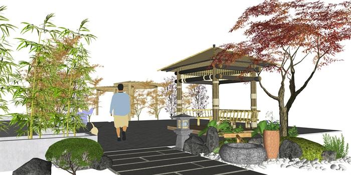 新中式庭院景觀景觀小品 景觀亭 植物廊架su模型(1)