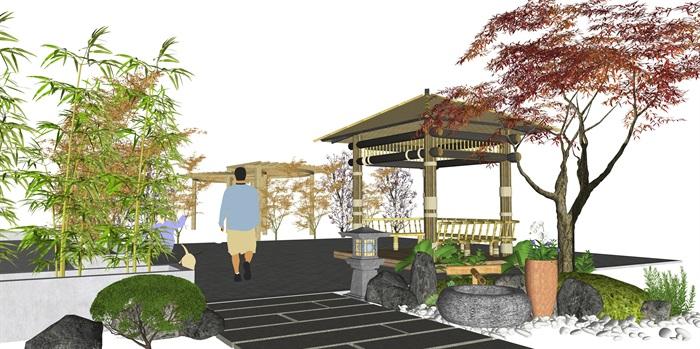 新中式庭院景觀景觀小品 景觀亭 植物廊架su模型(2)