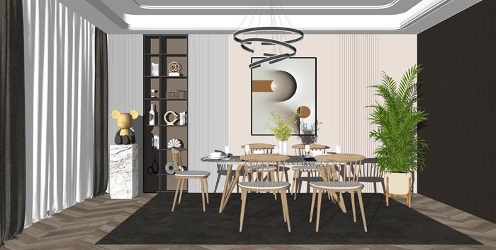 现代轻奢餐厅餐桌椅组合摆件吊灯su模型(1)