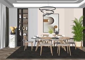 现代轻奢餐厅餐桌椅组合摆件吊灯SU(草图大师)模型