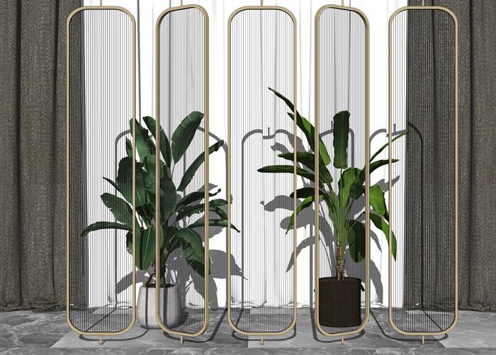 現代玻璃隔斷盆栽組合su模型(2)