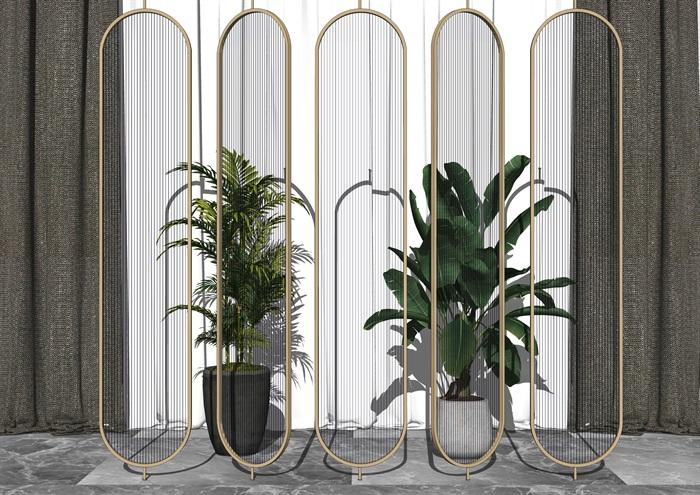 現代玻璃隔斷盆栽組合su模型(3)