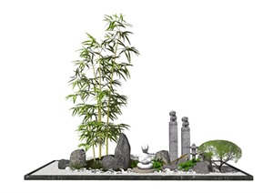 新中式日式景观小品跌水景观水景栓马柱石头佛像石灯SU(草图大师)模型