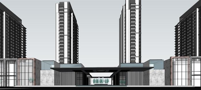 某現代風格高層+商業+售樓部su精細模型(2)