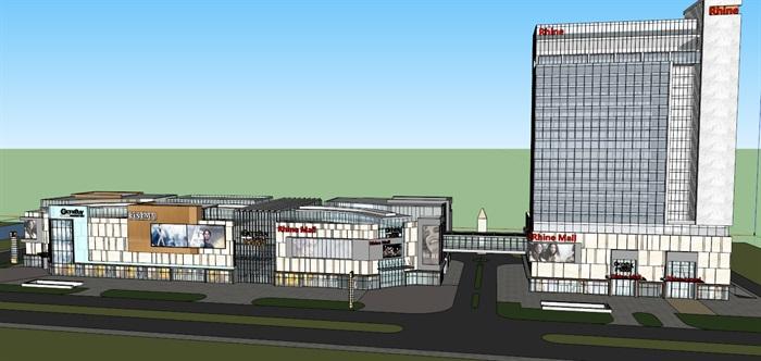 某现代风格酒店综合商业广场su精细模型(1)