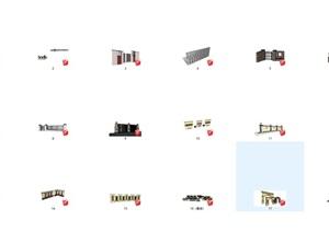 景观单体模型景墙、围墙