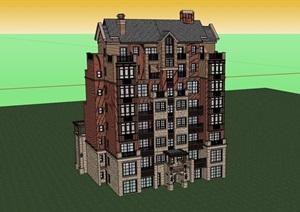 完整的欧式多层洋房建筑SU(草图大师)模型