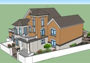 独栋私人完整的别墅建筑详细设计SU(草图大师)模型