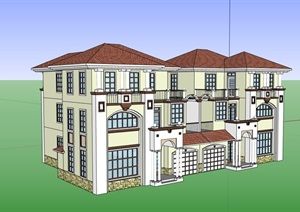 双拼整体详细的别墅建筑详细设计SU(草图大师)模型