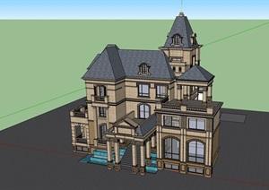 英式风格独栋三层别墅建筑详细设计SU(草图大师)模型