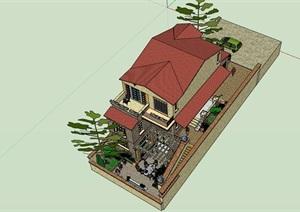 欧式经典的完整别墅建筑详细设计SU(草图大师)模型