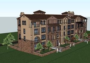 英式多层小区别墅建筑详细设计SU(草图大师)模型
