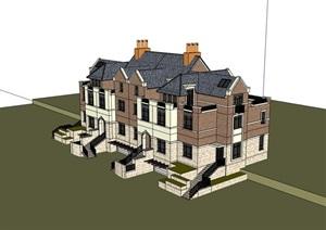 英式完整的小区居住别墅SU(草图大师)模型
