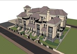 详细的欧式完整的小区居住别墅SU(草图大师)模型