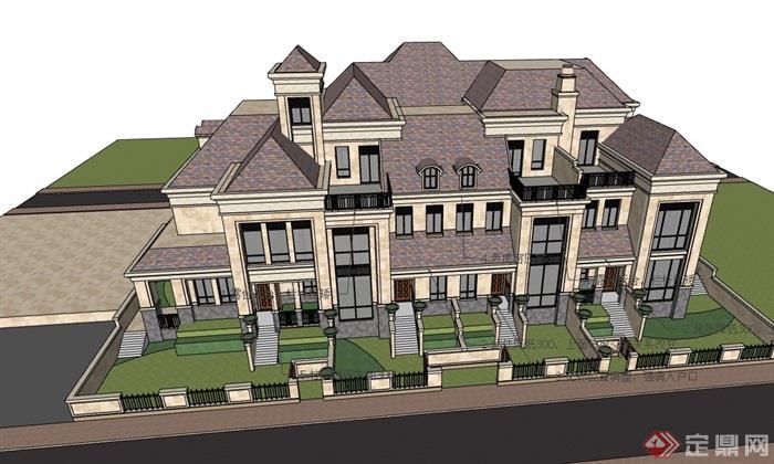 详细的欧式完整的小区居住别墅su模型