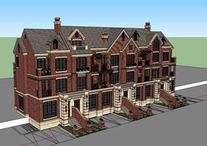 欧式完整的居住小区别墅SU(草图大师)模型