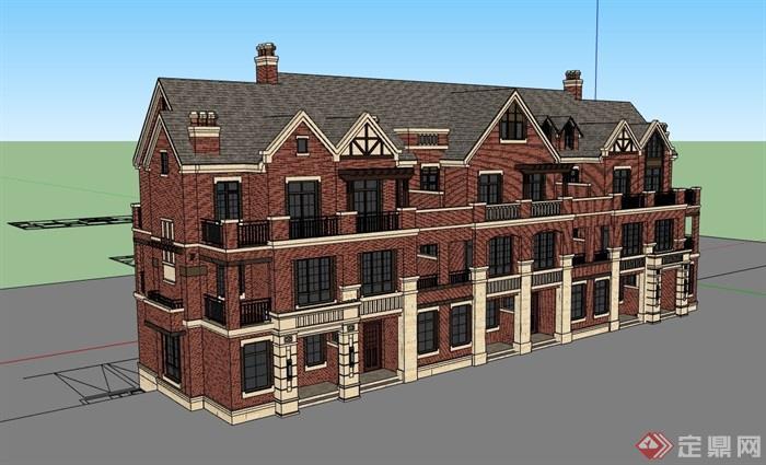 欧式完整的居住小区别墅su模型
